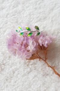 Nowy pierścionek obrączka liście zielone listki natura bohemian srebrny kolor