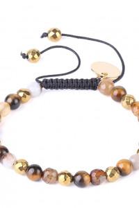 Nowa bransoletka koraliki tygrysie oko agat brązowe złoty kolor boho hippie handmade