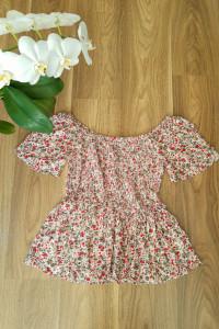 Śliczna bluzka w kwiaty vintage wiskoza S M L