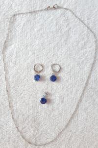 Nowa biżuteria komplet kolczyki naszyjnik łańcuszek wisiorek niebieska cyrkonia proste