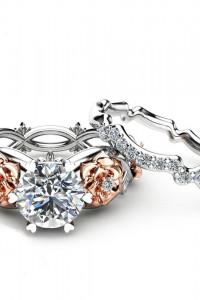 Nowe pierścionki dwa komplet zestaw srebrny złoty kolor kwiaty obrączka