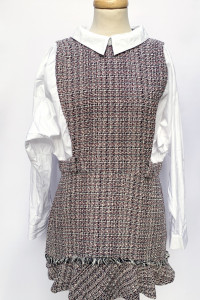 Sukienka XL 42 Zara Kratka Elegancka Kołnierzyk Biała