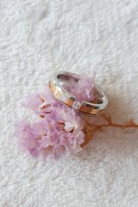Nowy pierścionek obrączka srebrny kolor różowe złoto biała cyrkonia stal szlachetna