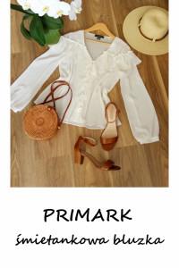 Elegancka kremowa bluzka z falbaną Primark S M...