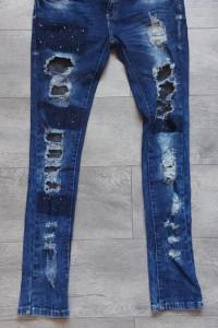 Spodnie Jeans Dziury Przetarcia Rurki 42...