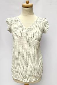 Bluzka Biała Kropki Groszki H&M Mama Ciążowa XS 34 Elegancka